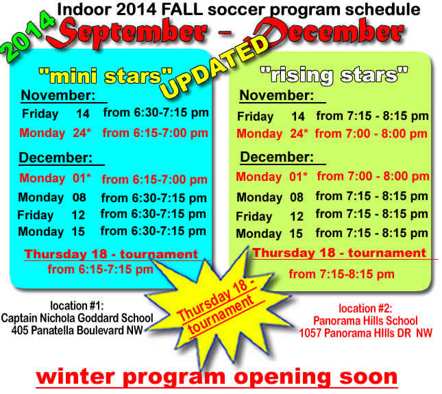 No soccer today - updated schedule November 10 2014 Panorama